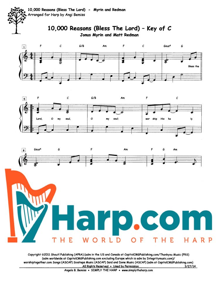 10,000 Reasons (Bless the Lord), Key of C - Harp.com